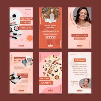 Flaches design-schönheits-instagram-geschichten-set
