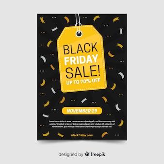 Flaches design schwarzer freitag flyer vorlage