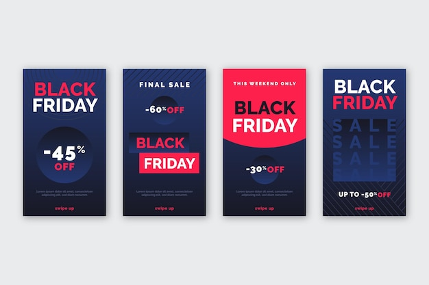 Flaches design schwarzer freitag instagram geschichten sammlung