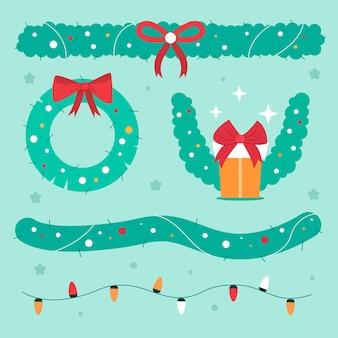 Flaches design-set von dekorativen weihnachtselementen