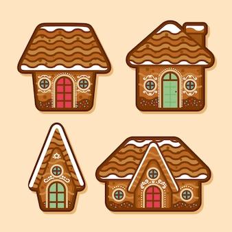 Flaches design-set von lebkuchenhäusern