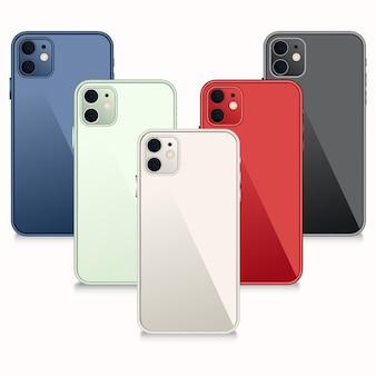 Flaches design-smartphone in verschiedenen farben