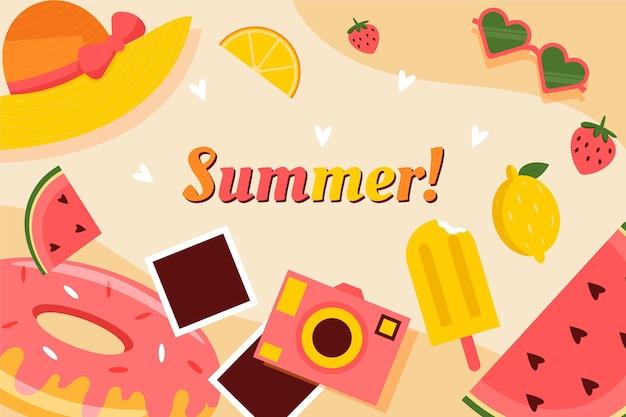 Flaches design-sommerhintergrundkonzept