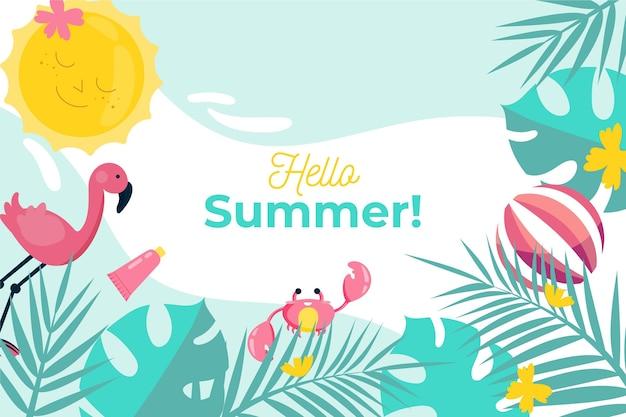 Flaches design-sommerhintergrundthema