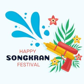 Flaches design songkran-konzept