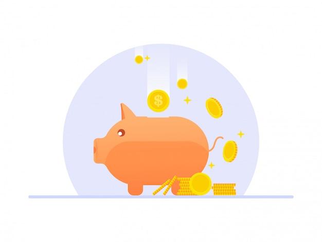 Flaches design sparschwein mit münzen auf isoliert, investition, geldsparkonzept mit sparschwein, sparschweinikonenillustration.