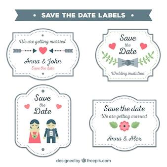Flaches design speichern das datum label / abzeichen sammlung