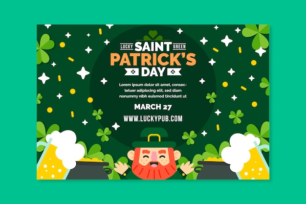 Flaches design st. patrick's day banner
