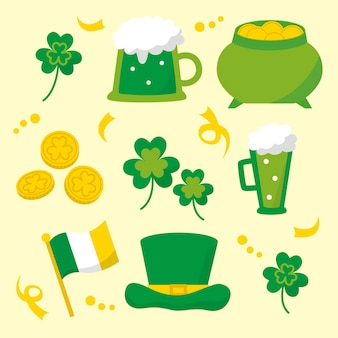 Flaches design st. patrick's day elemente pack
