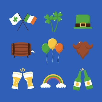 Flaches design st. patrick's day elemente