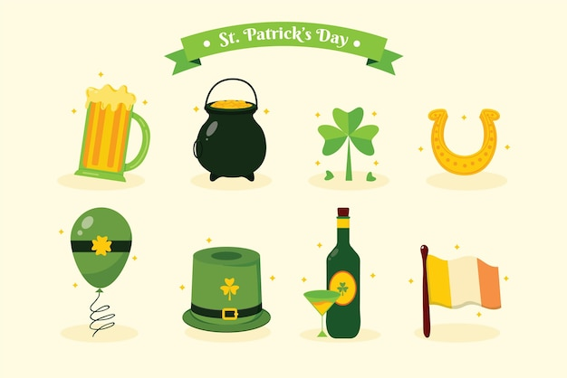 Flaches design st. patrick's day elements sammlung
