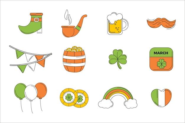Flaches design st. patrick's day-elementsatz