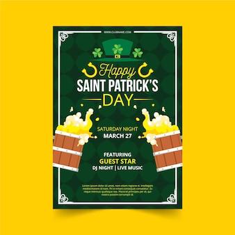 Flaches design st. patrick's day flyer vorlage
