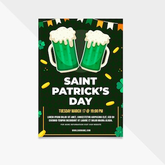 Flaches design st. patrick's day flyer vorlage
