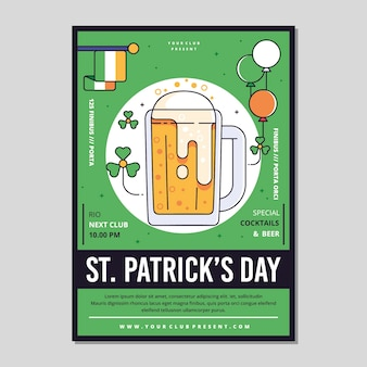 Flaches design st. patrick's day flyer