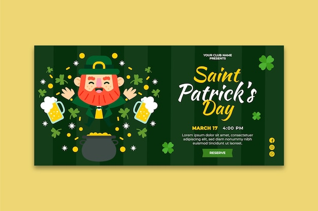 Flaches design st. patrick's day horizontales banner