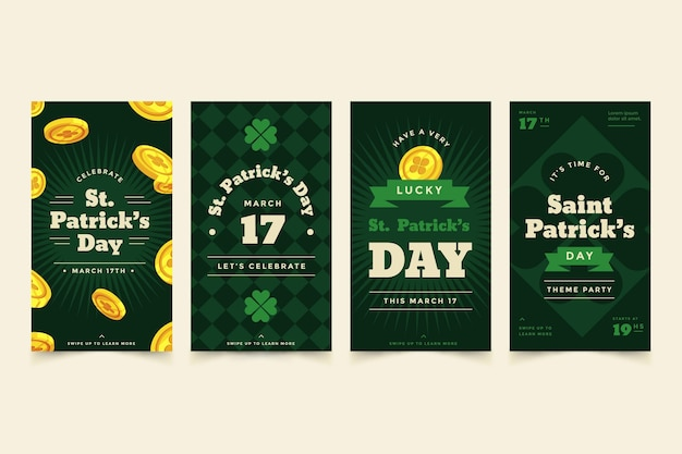 Flaches design st. patrick's day instagram geschichten