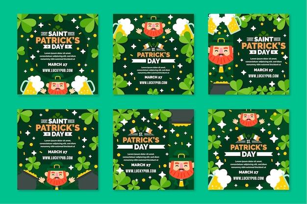 Flaches design st. patrick's day instagram posts Kostenlosen Vektoren