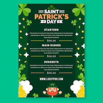 Flaches design st. patrick's day menüvorlage