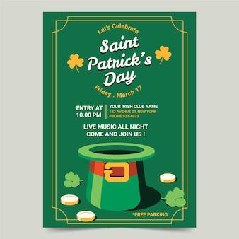 Flaches design st. patrick's day plakat vorlage