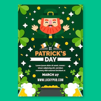Flaches design st. patrick's day vertikaler flyer