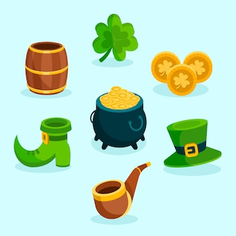 Flaches design st. patricks day element collection konzept