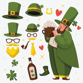 Flaches design st. patricks day element sammlung