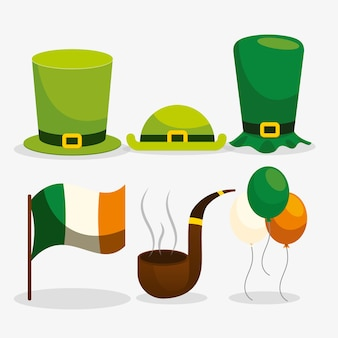 Flaches design st. patricks day elementsammlung