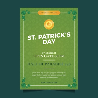 Flaches design st. patricks day flyer vorlage konzept