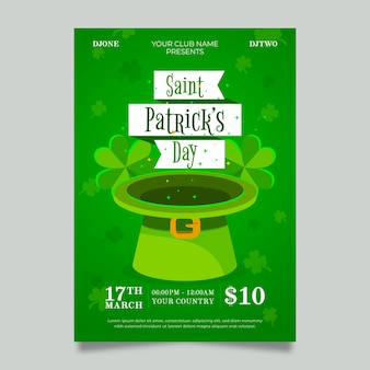 Flaches design st. patricks day flyer vorlage thema
