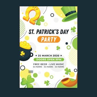 Flaches design st. patricks day flyer vorlage