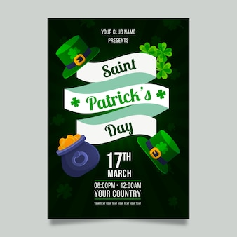 Flaches design st. patricks day flyer vorlage