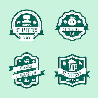 Flaches design st. patricks day label collection konzept