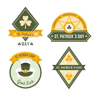 Flaches design st. patricks day label sammlung konzept