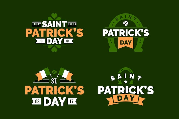 Flaches design st. patricks day label sammlung