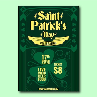 Flaches design st. patricks day plakat vorlage thema