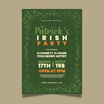 Flaches design st. patricks day plakat vorlage
