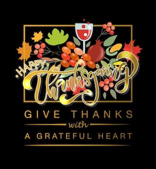 Flaches design-stil happy thanksgiving day-logo-abzeichen und symbol happy thanksgiving day-logo-vorlage