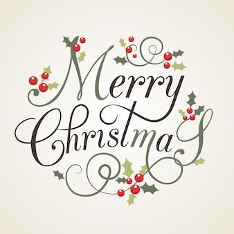 Flaches design stlye weihnachtskarte mit stechpalmenblättern und beeren schriftzug frohe weihnachten eps10