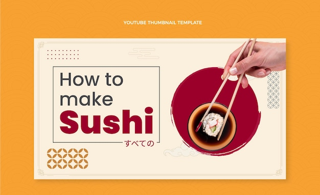 Flaches design sushi youtube-miniaturansicht