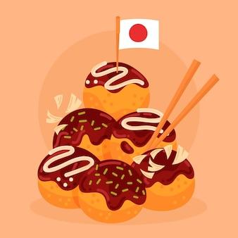 Flaches design takoyaki dessert mit japan flagge
