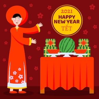 Flaches design têt (vietnamesisches neujahr)