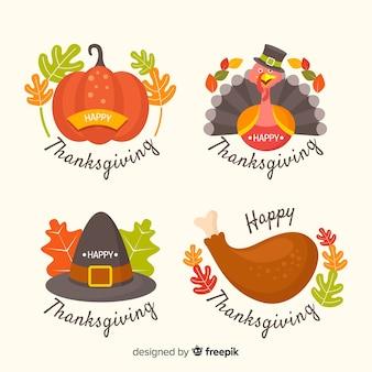 Flaches design thanksgiving abzeichen festgelegt