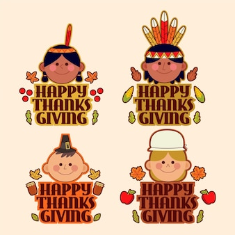 Flaches design thanksgiving-abzeichen gesetzt