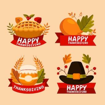 Flaches design thanksgiving abzeichen sammlung