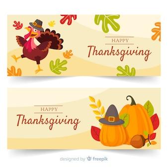 Flaches design thanksgiving banner gesetzt