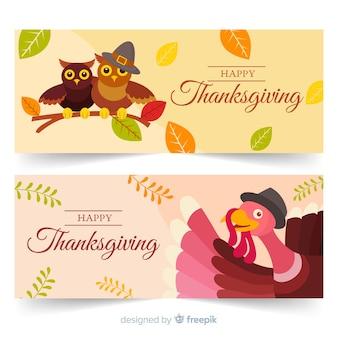 Flaches design thanksgiving banner sammlung