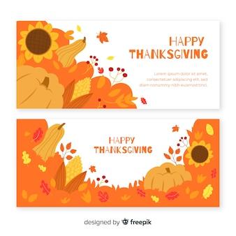 Flaches design thanksgiving banner vorlage