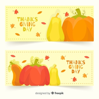 Flaches design thanksgiving banner vorlage