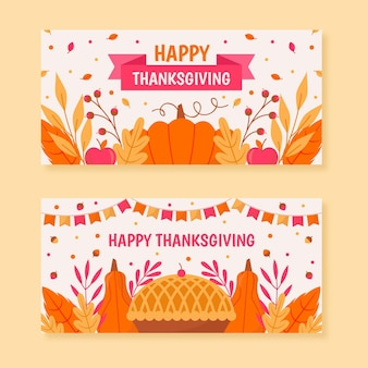 Flaches design thanksgiving banner